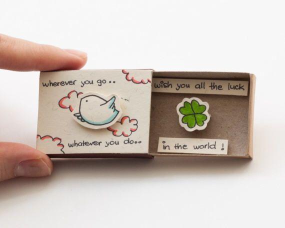 "Cute Farewell Card/ Goodbye Card/ Bird Matchbox / Gift box / Message box ""Wish you all the good in the word""/ OT043"
