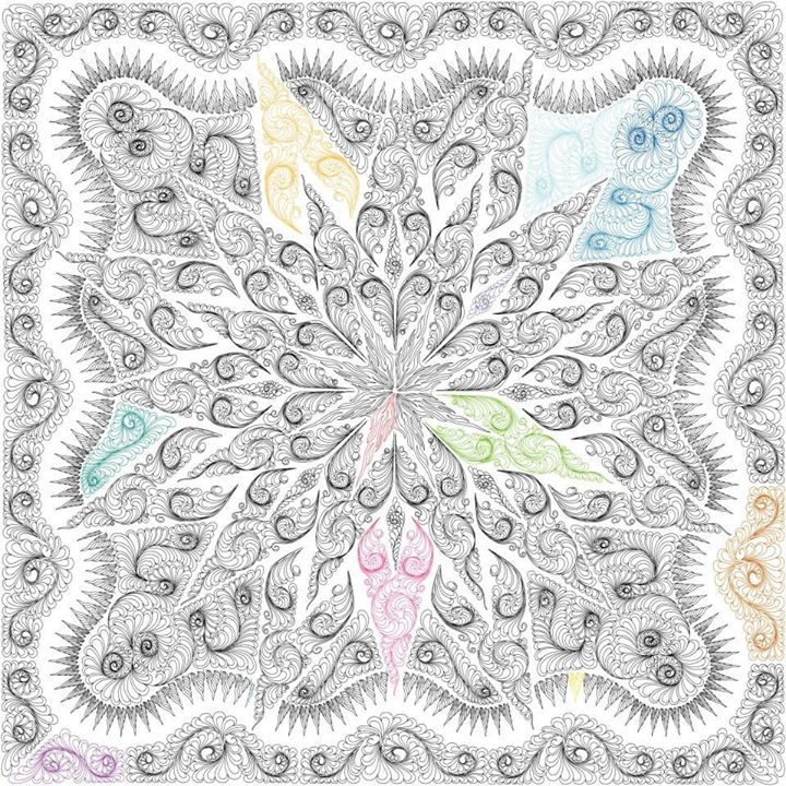 Judy Niemeyer Bali Wedding Star Kit: Feathered Star Queen Digitized Quilting Design, Quiltworx