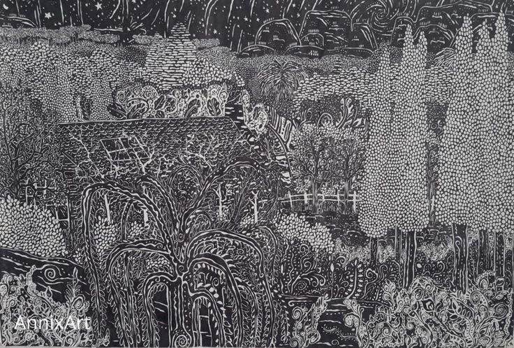 Detailed black and white drawing of a cabin in the woods.Starry night time forest illustrations. Art by AnnixArt.
