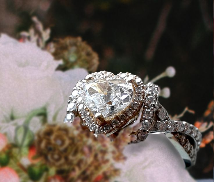 Linara Heart Shaped Halo Diamond Twisted Pave Shank Engagement Ring in Platinum