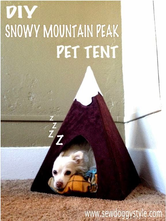 Sew DoggyStyle: DIY Snowy Mountain Peak Pet Tent Made with a cardboard box!   I'm trying this today!
