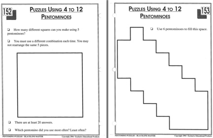 Here's a packet with a series of pentomino activities. Includes a number of space-filling outlines.