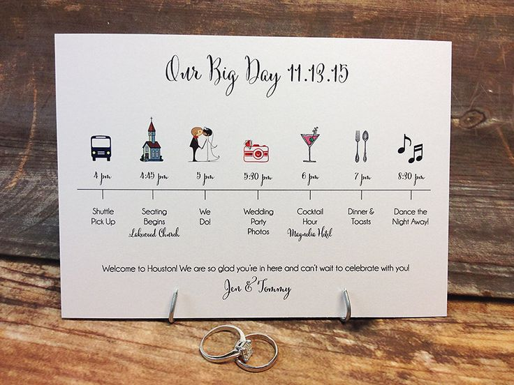 Wedding Timeline Card DEPOSIT by pixelstopaper on Etsy