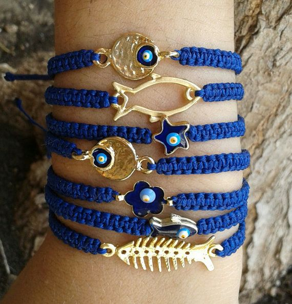 22k gold fishbone/fish/flower/evil eye/star/ macrame por lulupica