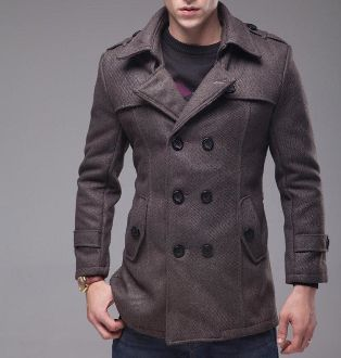 Men's Double Breast Woolen Coat with Belt