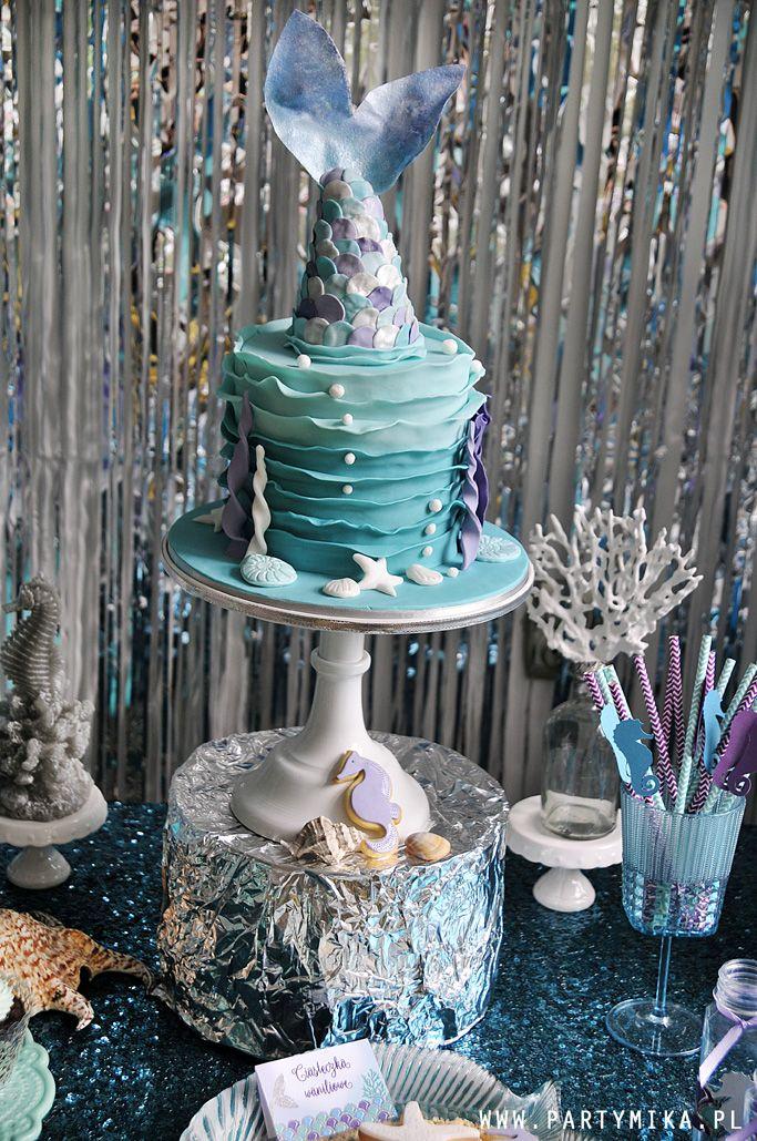 Urodziny Małej Syrenki Tort ogon syrenki Mermaid Cake, Mermaid Party
