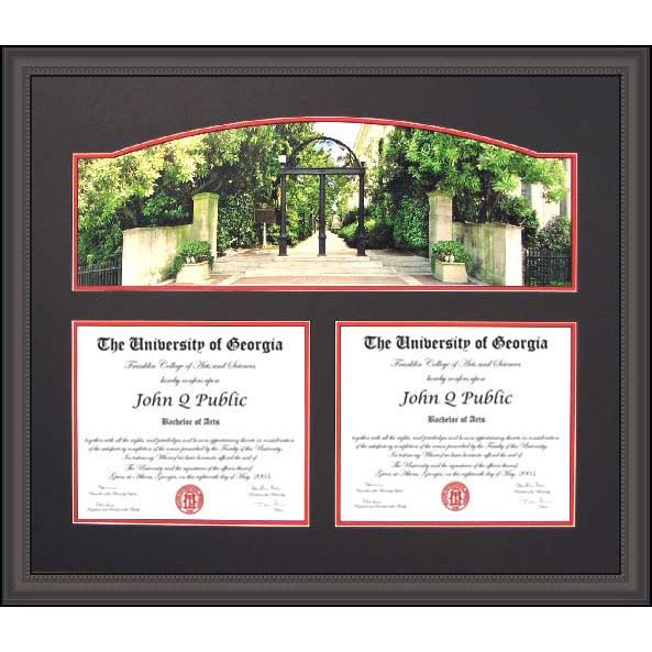 uga double diploma frame with arch