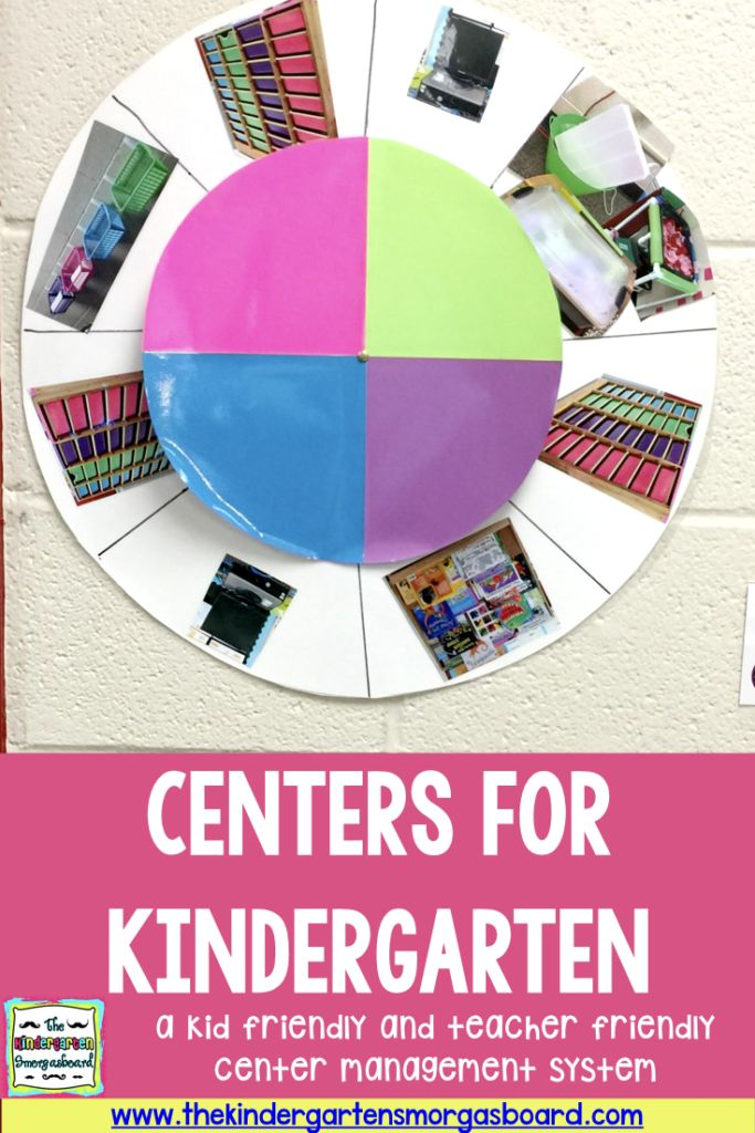 Setting up centers for kindergarten (or any grade) with a visual, color coded center wheel.  This post explains a teacher and kid friendly center management system!