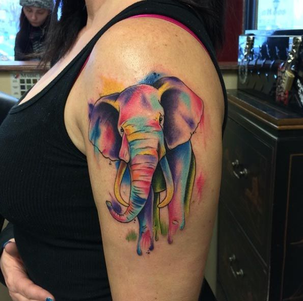 Watercolor Elephant Tattoo by Frankie Oneshot                              …