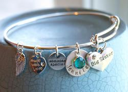 Big Sister Personalized Hand Stamped Adjustable Wire Bangle Bracelet