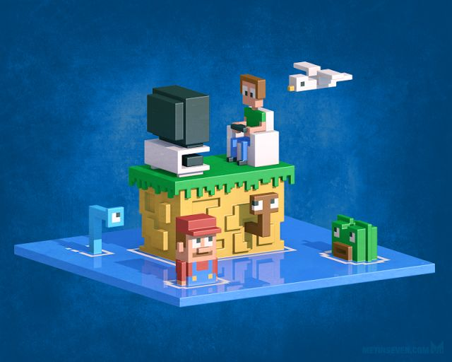Retromania — 3D pixel (voxel) art tribute to the 8-bit gaming era. Prints: https://society6.com/sevensheaven/collection/voxel-3d-pixel-artwork