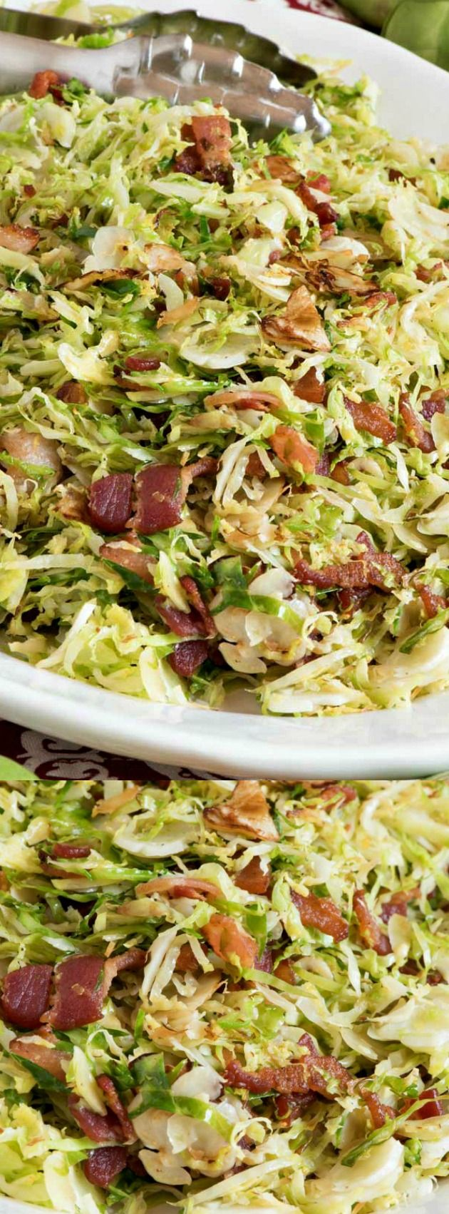 These Shaved Brussel Sprouts with Bacon from A Family Feast make a quick side dish that cooks up in just minutes! Thinly sliced brussel sprouts are fried with chopped bacon and a bit of salt and pepper to taste!