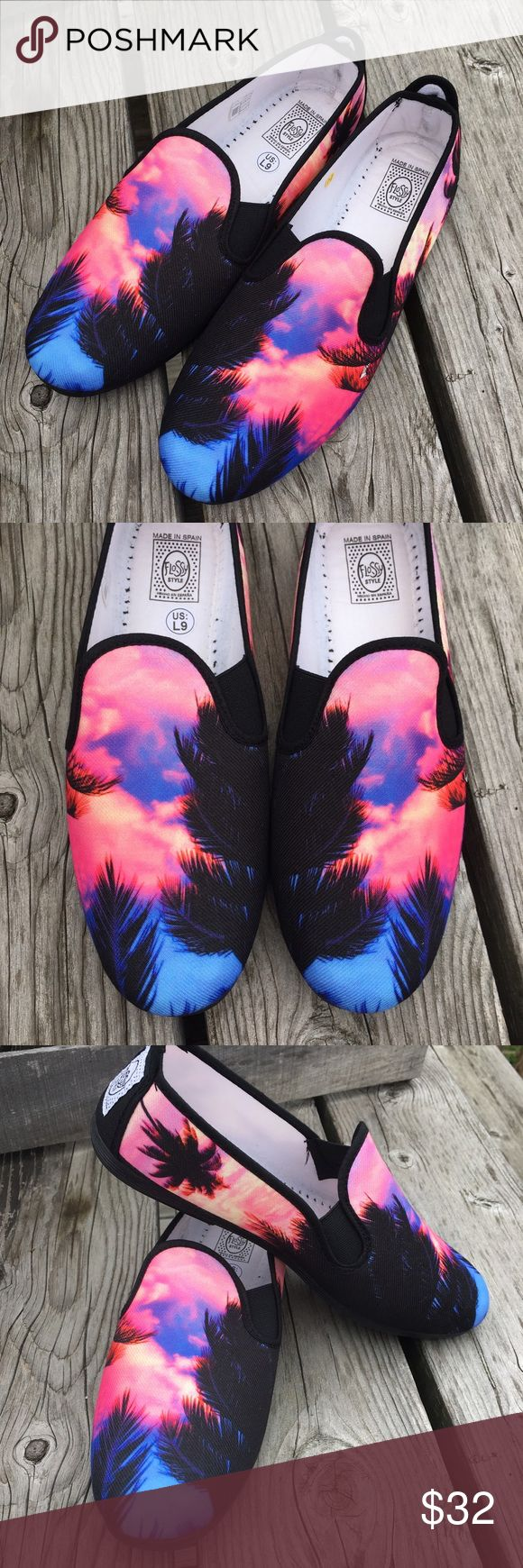 🆕List! Flossy Tropical Dream Loafers! NEW! SO gorgeous!! Made in Spain - EUR size 41 which is about a women's 10 imo - however my seller called them a size 9. (I do not agree with Poshmark's sizing system, but please ask if you are unsure!). New in box! On a side note - these smell delicious!! 🤗🤗 Flossy Shoes Flats & Loafers
