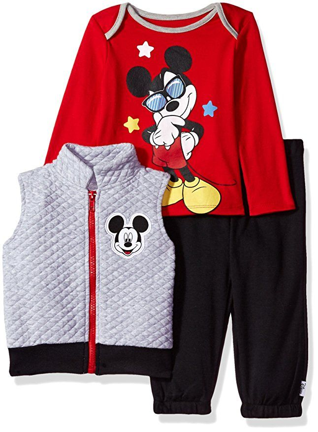 Disney Infant Boy Mickey Mouse 3 Piece Outfit TShirt Pants Long Sleeve Shirt NWT