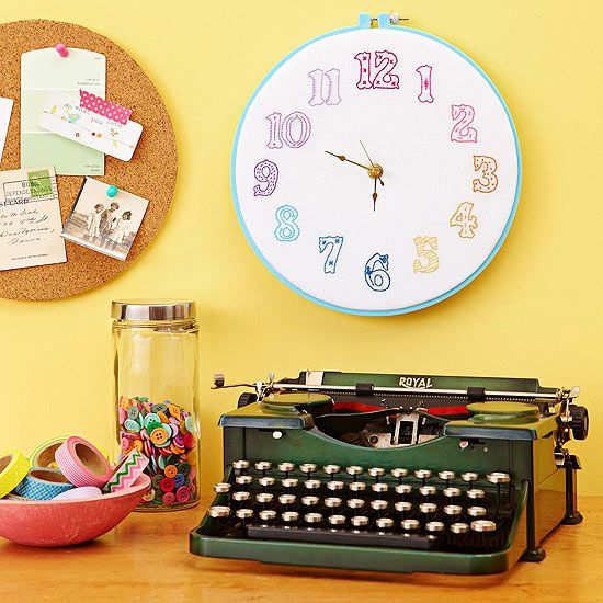 Don't let time slip by without whipping up a clock sampler. Each number outline is embellished with a different motif, and a plastic embroidery hoop adds to the colorful display.