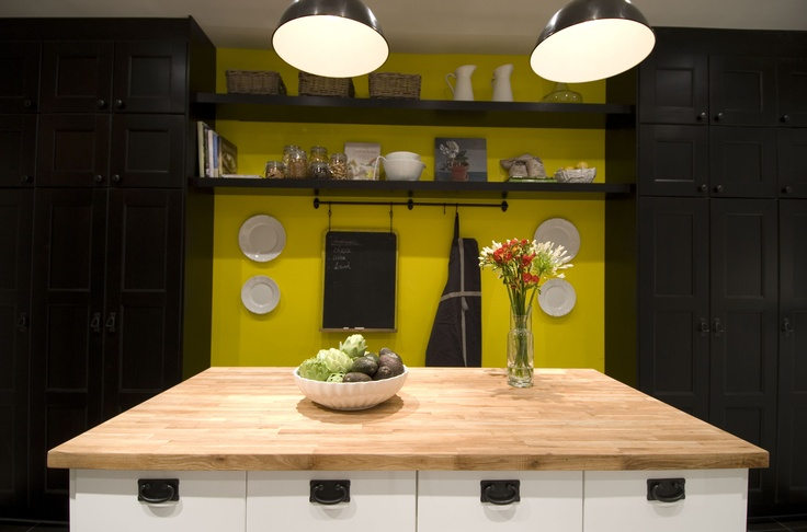 Yellow feature wall in kitchen, Income Property HGTV