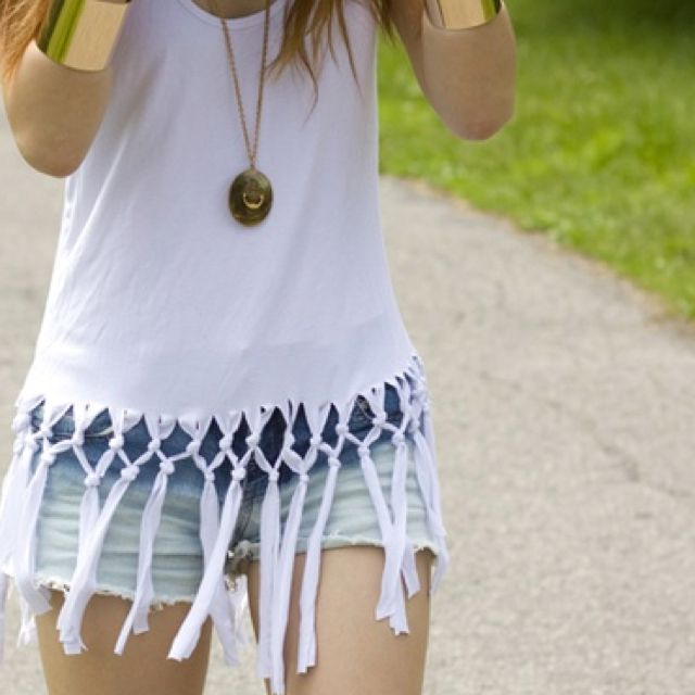Fringe shirt with knots (but add a few beads and ombre die it)