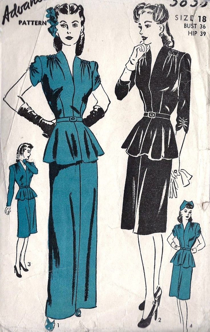 """1940s Misses Cocktail Dress or Evening Dress Vintage Sewing Pattern, Flared Peplum, Sexy, Advance 3825, bust 36"""". $36.00, via Etsy."""