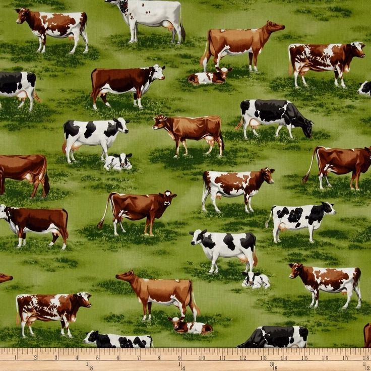 Down On The Farm Fabric Cows And Calves On Green Grass Meadow Premium Cotton #RobertKaufmanFabrics