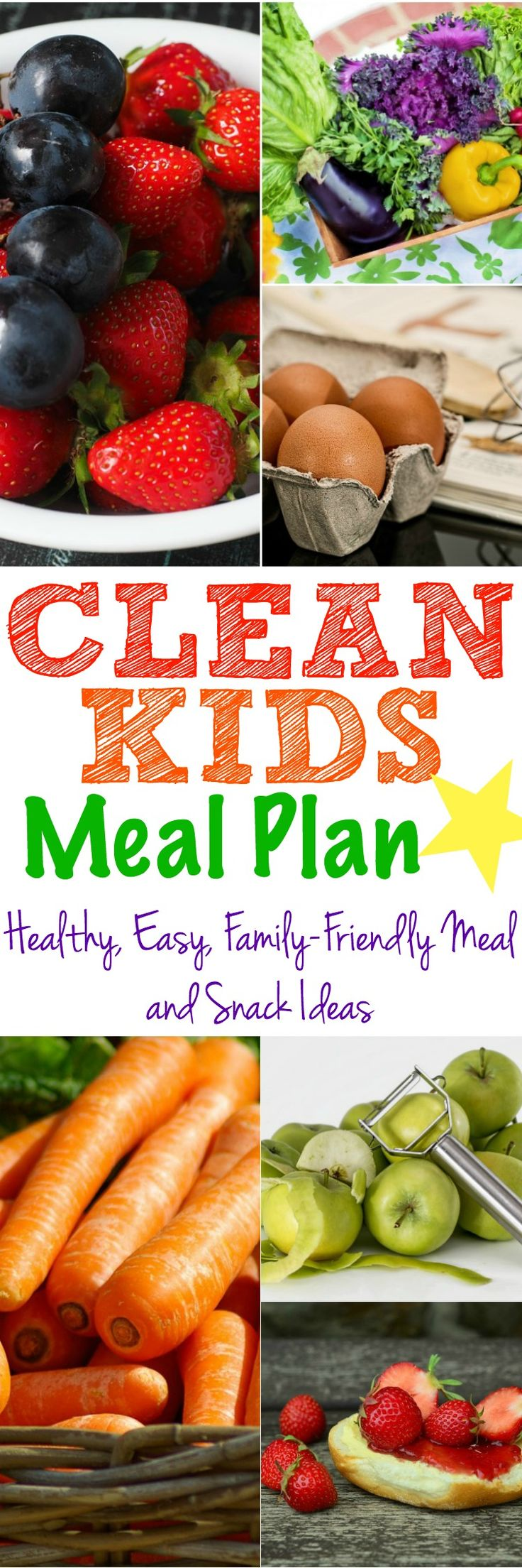 This Clean Kids Meal Plan is full of over a week's worth of healthy, clean eating breakfasts, lunches, dinners, and snack ideas that the whole family will love!