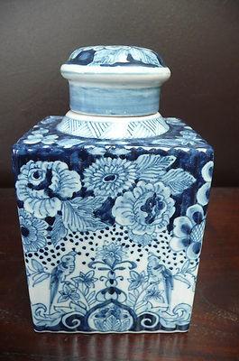 Tichelaar Makkum, lovely large blue tea caddy