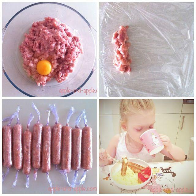 РЕЦЕПТ: Детские куриные сосиски     Куриное филе -4 штуки     1 яйцо     100 мл молока     соль (по желанию, я ее не добавляла)     пищевая пленка