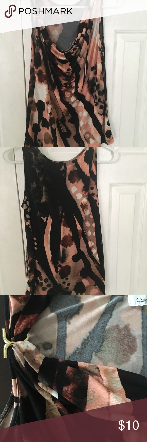 Tank top Calvin Klein floral pink black messed color tank top blouse short sleeve cow necklace collar gold design on left shoulder cute tank   good condition Calvin Klein Tops Tank Tops
