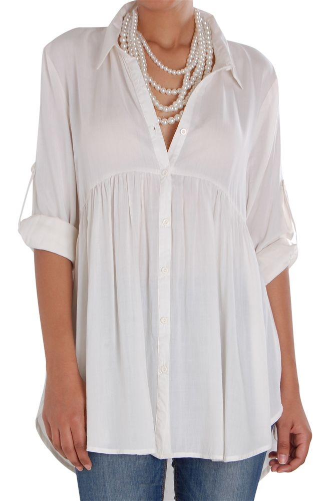 Button Up Swing Blouse - High Low Long Sleeve Ruched Tunic Shirt