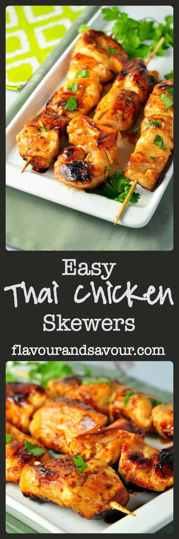 Paleo and so good! Need a quick weeknight dinner? These paleo Easy Thai Chicken Skewers are sweet, spicy and succulent, flavoured with garlic, ginger, honey and chili paste. Lots of finger-licking yumminess. |www.flavourandsavour.com