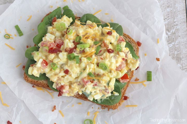 All the flavors of a BLT in a healthy egg salad recipe! A perfect summer salad or a great way to use Easter eggs! Yummy as a sandwich or gluten-free salad!