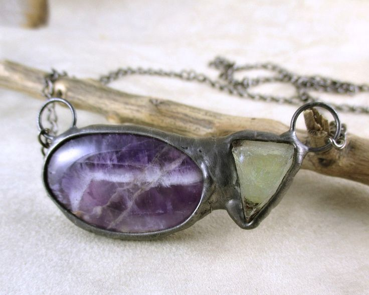 Amethyst & fluorite necklace, raw crystal, statement  necklace, natural stone, Tiffany method, handmade by pentaxPL on Etsy