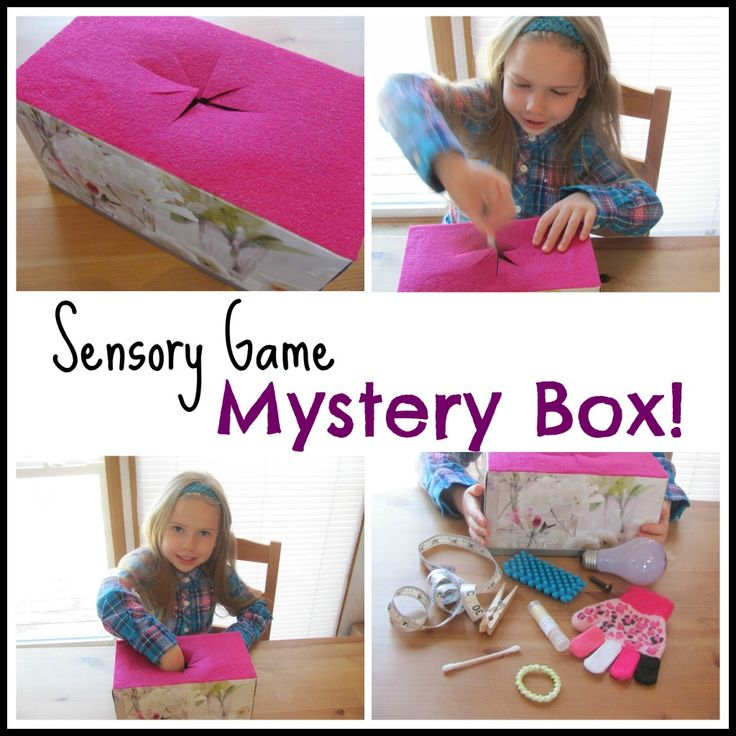 Mystery Box Sensory Game I remember doing this when I went to the private school Hillcrest in Temecula.