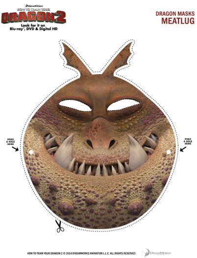Free Printable Meatlug Dragon Mask