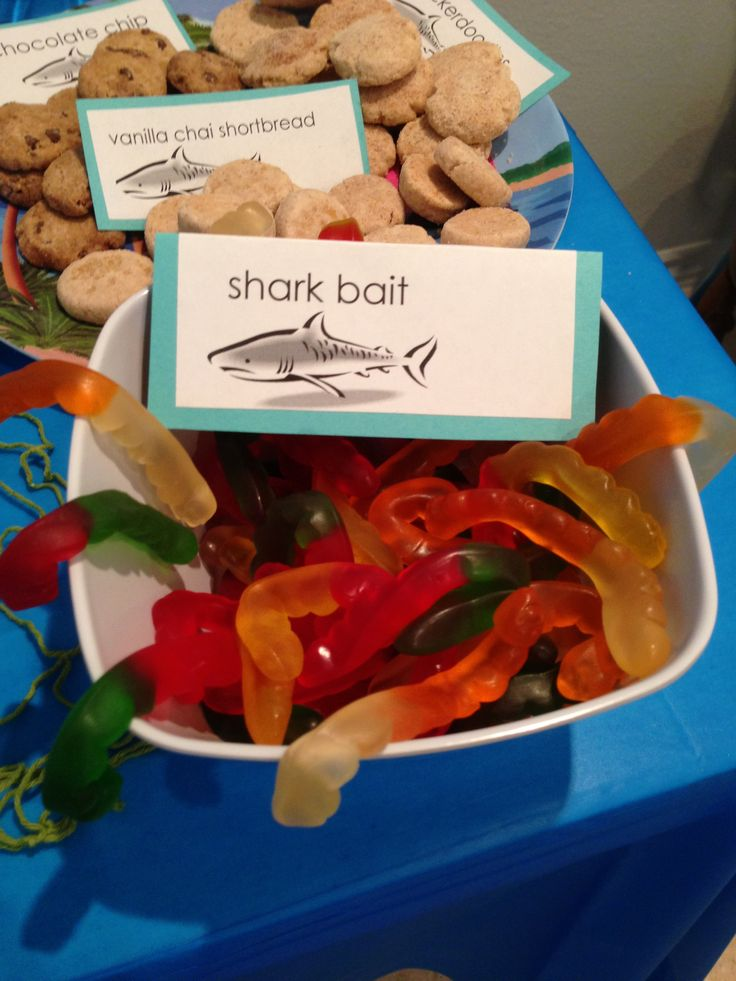 Shark party. 1st birthday. beach party. pool party. birthday bash. Toddler birthday. theme party. Shark party decorations. Fun party food.