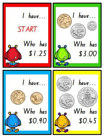 I have... who has? A classic game, this time with AUSTRALIAN COINS! This file includes 36 game cards for your students to play with.