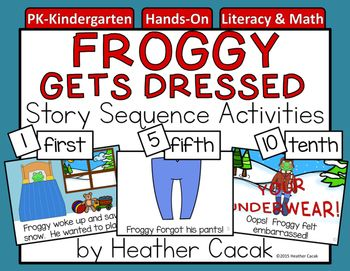 Thanks for your interest in my Froggy Gets Dressed Story Retelling and Sequencing Cards & Activities - inspired by the popular childrens book by Jonathan London. I find story retelling & sequencing works best as a teacher-led, whole or small group activity.This download includes: -1 set of 12 story retell cards- 9 clothing cards (scarf, underwear, hat, mittens, pants, shirt, coat, socks, boots)- 12 numeral & 12 ordinal cards- 2 title cards (one color, one b/w)- 1 author card- 1 i...
