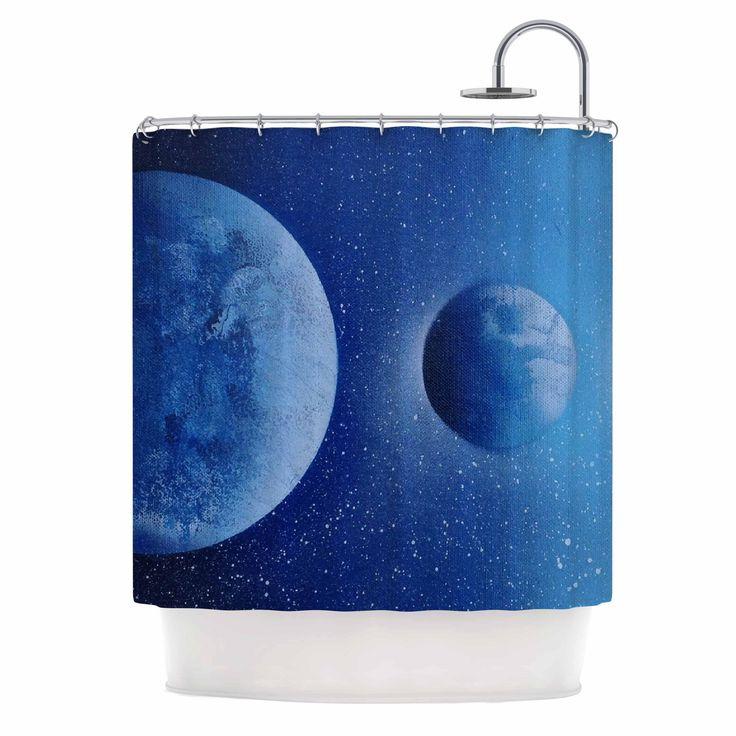 "Infinite Spray Art ""Interplanetary Alignments"" Blue Mixed Media Shower Curtain"