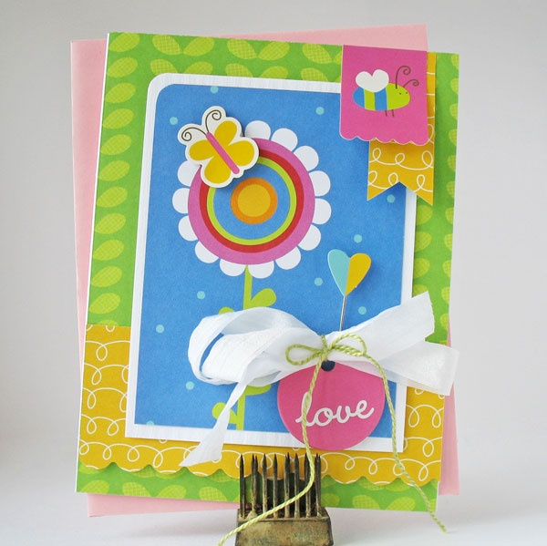 Adorable card with my Rainbow Collection! More Spring Projects with Eva and Kathy for Pebbles Inc. #rainbow #scrapbook #craft