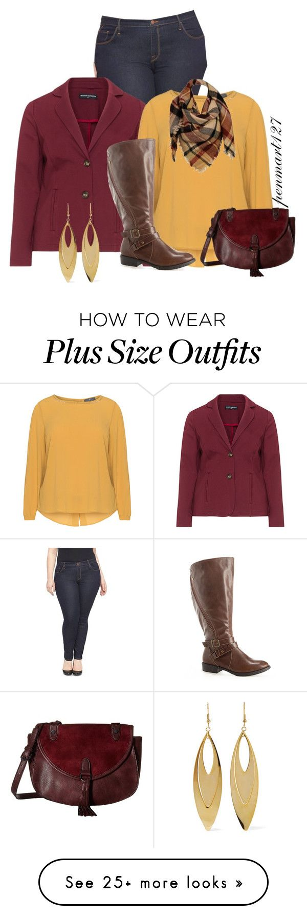 """""""Burgundy Fall Outfit #Plussize"""" by penny-martin on Polyvore featuring Ava & Viv, Manon Baptiste, Avenue, Madden Girl, Sylvia Alexander and Kenneth Jay Lane"""