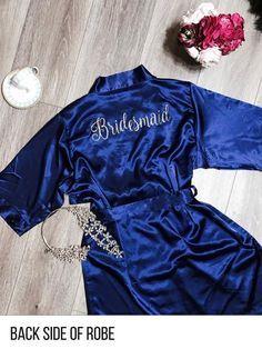 Aqua Satin Kimono Robe - PrettyRobes.com