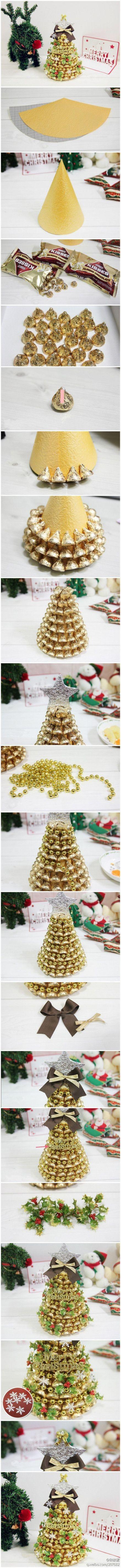 Hershey Kisses Christmas Tree ***materials (gold paper, hershey kisses, double sided tape, aluminum foil, ornaments, ribbon)