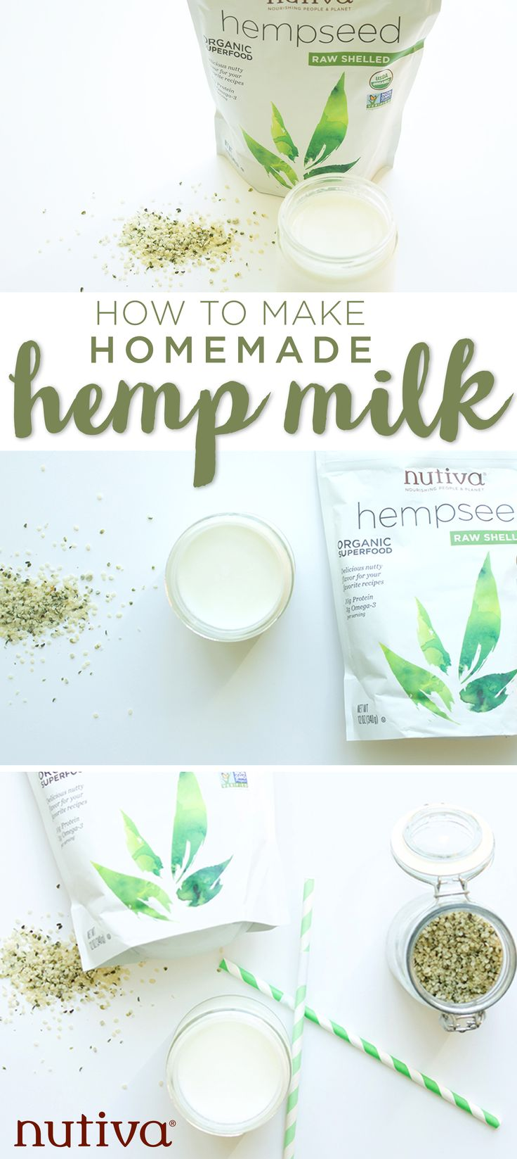 • 1/4 cup Nutiva hempseeds • 1 cup water • 1 tsp. vanilla extract (optional)