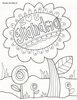 grandma doodle Heart coloring pages, Mothers day