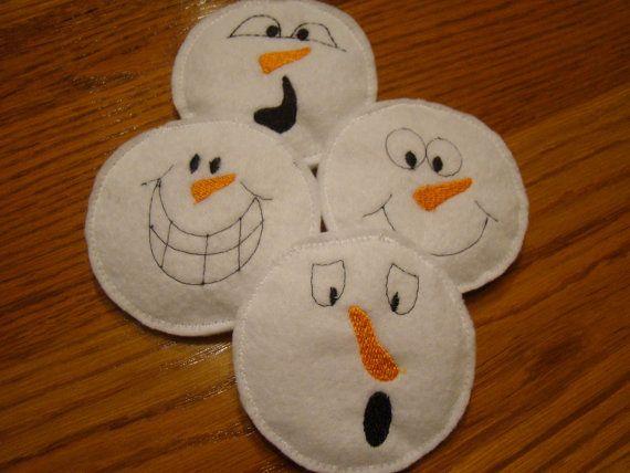 Felt Bean Bag Snowballs with Expressive Snowmen Faces by DeanTrout