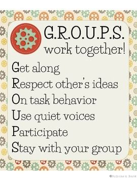 Great reminder for when your kids work in groups! Hang in your classroom or project as part of a mini-lesson.