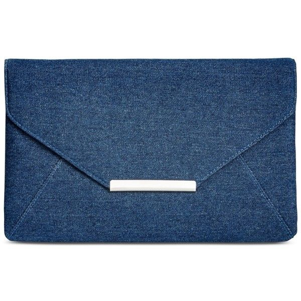 Style & Co. Lily Denim Clutch, ($30) ❤ liked on Polyvore featuring bags, handbags, clutches, dark blue, envelope clutch bag, blue envelope clutch, lily handbags, blue handbags and blue clutches