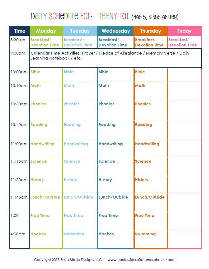Kindergarten Calendar Routine : Kindergarten daily schedule homeschool curriculum