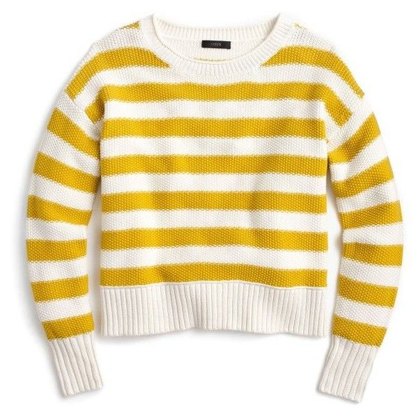 Women's J.crew Textured Stripe Cotton Sweater (£56) ❤ liked on Polyvore featuring tops, sweaters, sweatshirt, ivory saffron, white cotton sweater, white striped sweater, ivory top, white striped top and ivory sweater