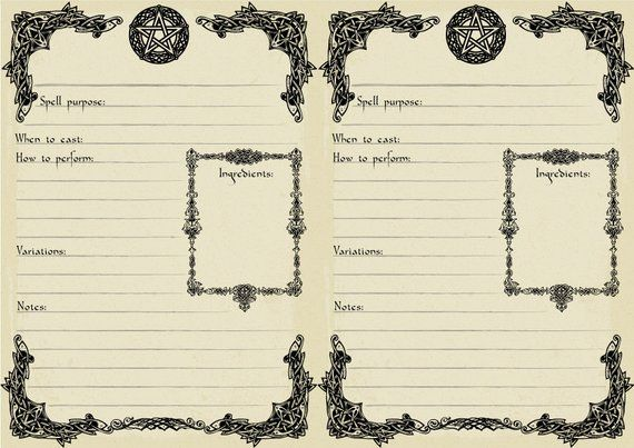 A5 Printable Spell Template Book Of Shadows Page Digital Etsy Book Of Shadows Wiccan Spell Book Grimoire Book
