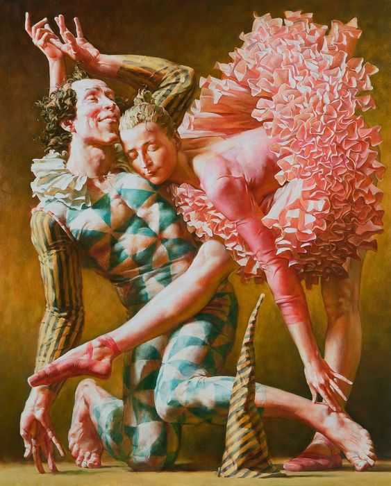Buffoon And Ballerina, painting by Alexander Sheversky (http://www.sheversky.com/category-figurative.htm)